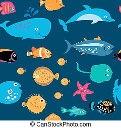 Seamless pattern with cute sea exotic fish - Seamless...