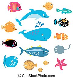 A collection of exotic marine inhabitants - A collection of...