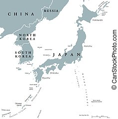 Korean peninsula and Japan countries political map with...