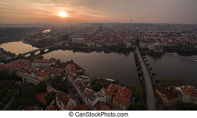 Aerial view of Prague and Vltava river at sunset