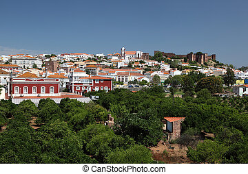 Town Silves with ancient castle in Algarve Portugal
