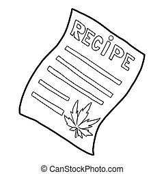 Marijuana recipe icon, outline style - icon in outline style...