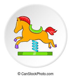 Horse rocking icon, cartoon style - Horse rocking icon in...