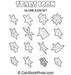 Star icons set in outline style. Different stars set...