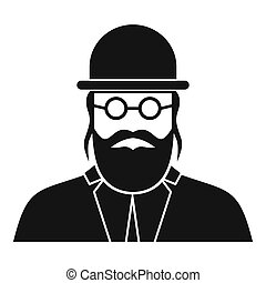 Orthodox jew icon, simple style - icon in simple style on a...
