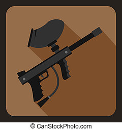 Paintball marker icon, flat style - icon in flat style on a...