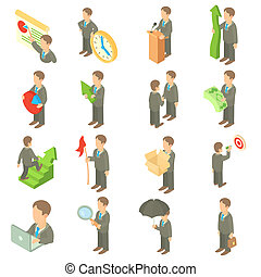Business icons set, cartoon style - Business icons set in...