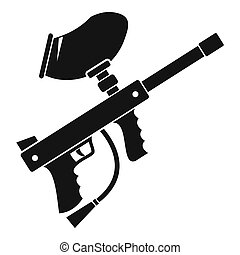 Paintball marker icon, simple style - icon in simple style...