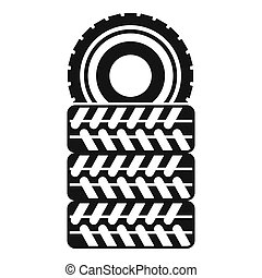 Pile of tires icon, simple style - icon in simple style on a...