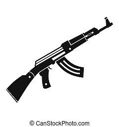 Submachine gun icon, simple style - Submachine gun icon in...