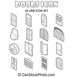Door icons set in outline style. Doors to houses and...