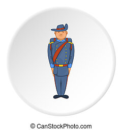 Soldiers in uniform with backpack icon in cartoon style...