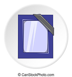Photos of deceased with ribbon icon, cartoon style - Photos...