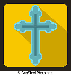 Christian cross icon, flat style - icon in flat style on a...