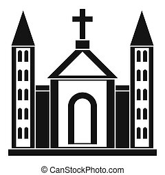 Christian catholic church building icon - icon in simple...