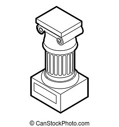 Ancient Ionic pillar icon, outline style - icon in outline...