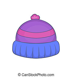 Winter knitted hat with pompon icon, cartoon style - Winter...