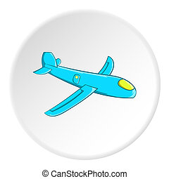 Childrens plane icon, cartoon style - Childrens plane icon...