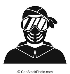 Paintball player wearing protective mask icon - icon in...