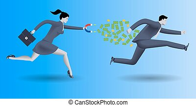 Debt collector business concept. Confident business woman in...