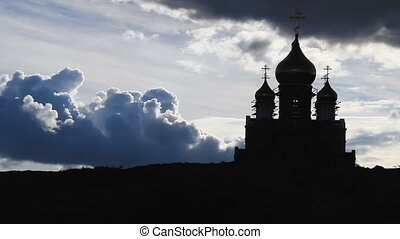 The Church and the Sky With Clouds. - Church Silhouette on...