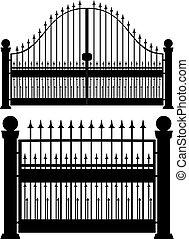 Iron Gate Silhouette - Decorative black silhouette of iron...