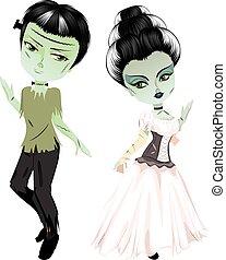 Monster Frankenstein with Bride - Cartoon Halloween monster...