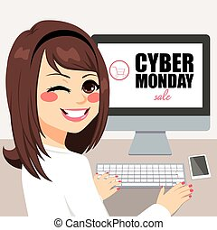 Cyber Monday Sale - Beautiful young woman buying on cyber...