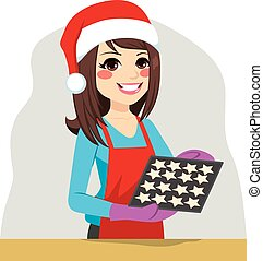 Christmas Woman Cooking Cookies