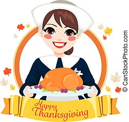 Happy Thanksgiving Woman Banner - Pilgrim woman holding...