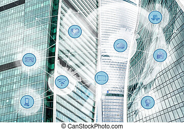 city and wireless communication network - modern city...