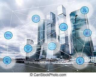 city and wireless communication network - modern city with...
