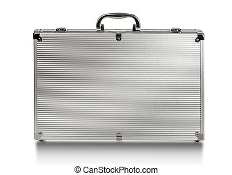 metallic suitcase on white