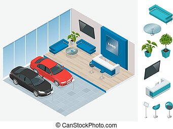Commercially colorful cars stand in car shop. Vector 3d flat isometric illustration. New shining beautiful cars stand near desk reception in car shop.