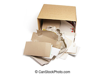 Waste Paper in Cardboard Box on White Background