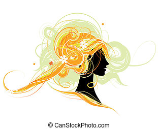 Woman head silhouette, hairstyle design