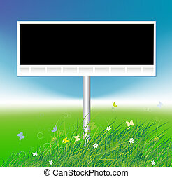 Billboard on green field background, place for your text