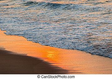 Beach Waterline Colors - Beach ocean waterline sunrise color...