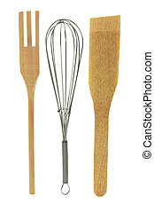 Egg Whisk and Salad Servers on White Background