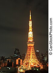 Illuminated Tokyo tower at night