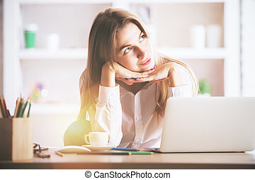 Charming businesslady at workplace - Portrait of charming...