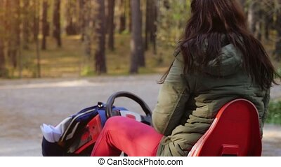 Young brunette woman driving ATV in slow motion. 1920x1080 -...