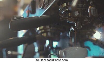 Hands barista. Barista prepares coffee. - Slowmotion....