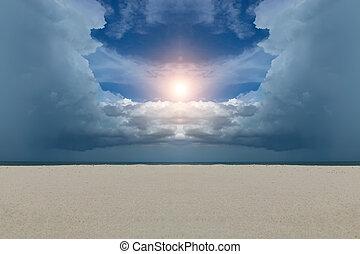 Sand and cloud sky on the beach with sun.