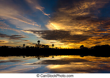 Mirror of Sunset sky with cloud color.