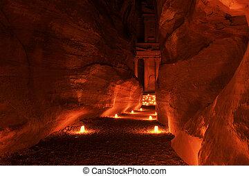 Illuminated Path to The Treasury (Al Khazneh) of Petra Ancient City, Jordan