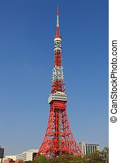 Tokyo tower, cloudless day with blue sky