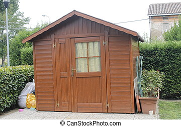 shed - wooden shed for tools in the garden