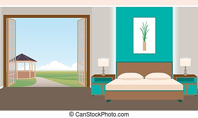 Flat style hotel room interior with furniture and outlet....