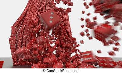 Dice and wrecking ball - 3d rendering of a dice wall...